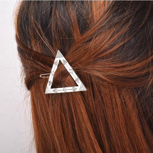Fashion Women Gold Silver Geometry Triangle Hairpin Hair Clip Hair Accessories