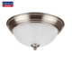 NEWMAS 15W Dimmable 11-Inch LED Flush Mount Ceiling Light Fixture 3000K Warm White Alabaster Glass Shade Satin Nickel
