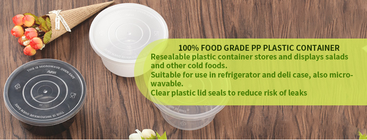 Microwave clear disposable plastic food container with lid