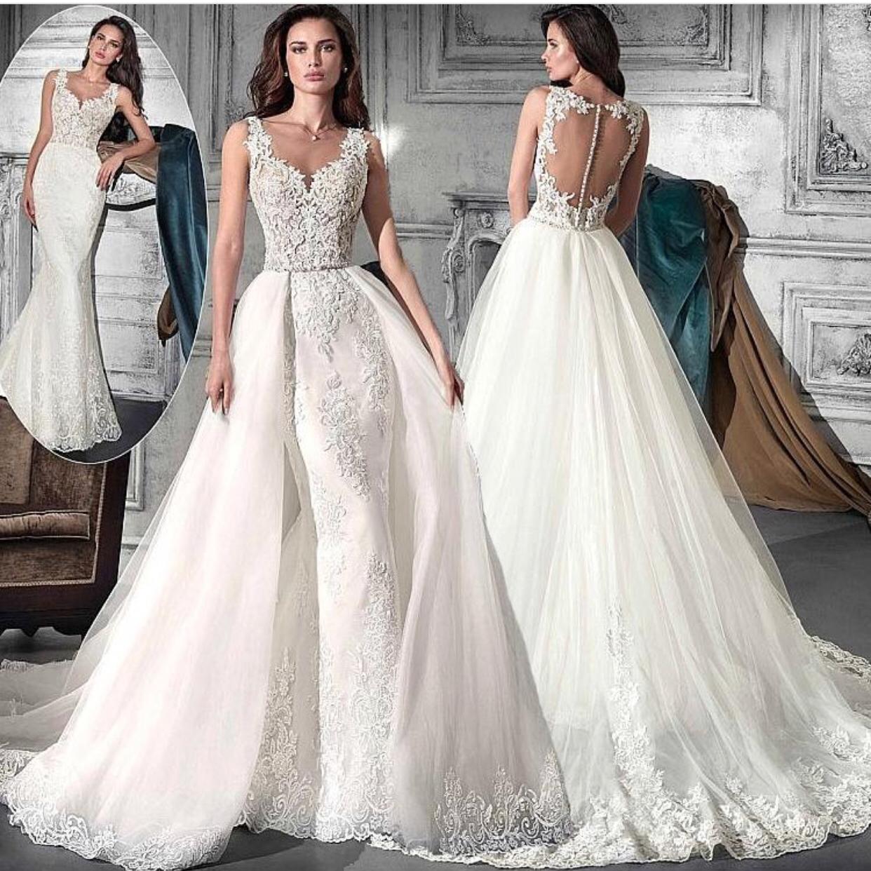 Abnehmbare Rock Spitze Applique Weiß Brautkleider 2018 Elegante ...
