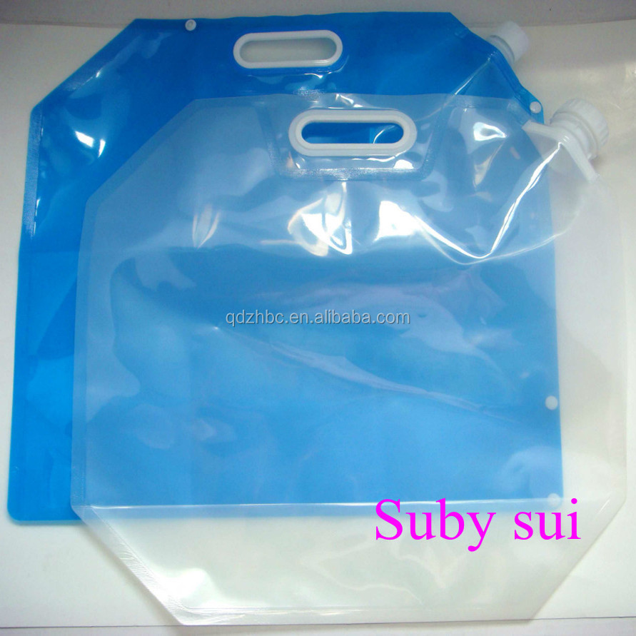 Custom printing Plastic 5 Liter foldable water bag with handle