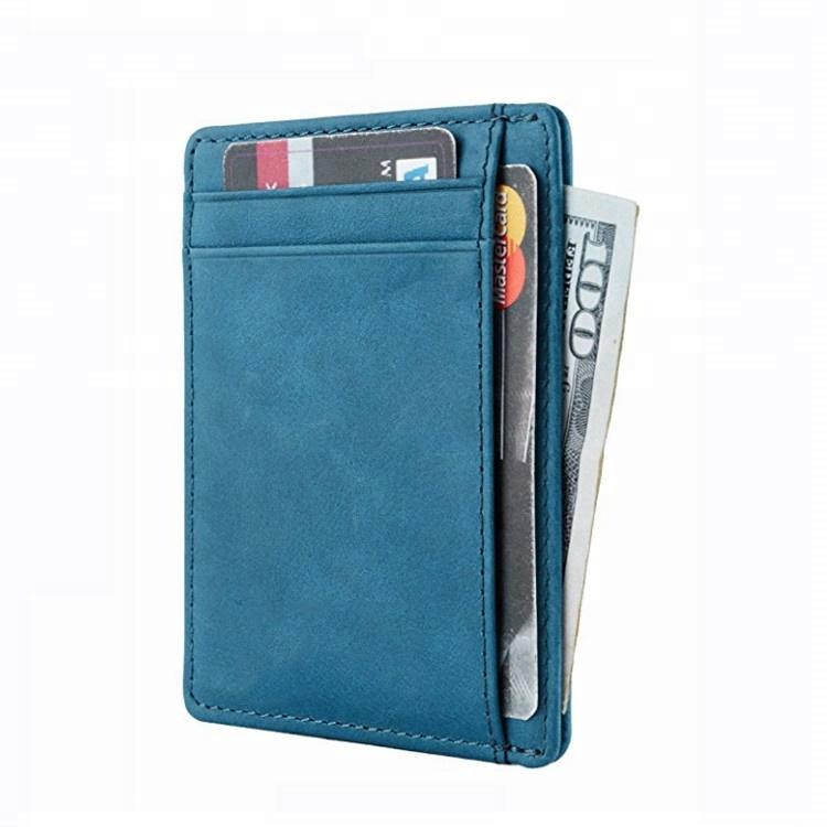 Vendas Hot Minimalista Slim Bolso Frontal Wallet Rfid Bloqueio de Cartão de Couro Genuíno Titular