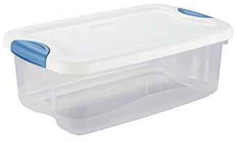 "STERILITE 18898004 Latch Storage Container, 106 quart Capacity, 33.75"" x 19.38"" x 13.38"" Size, 9.25"" Height, 17"" Width, 38.5"" Length, Clear"