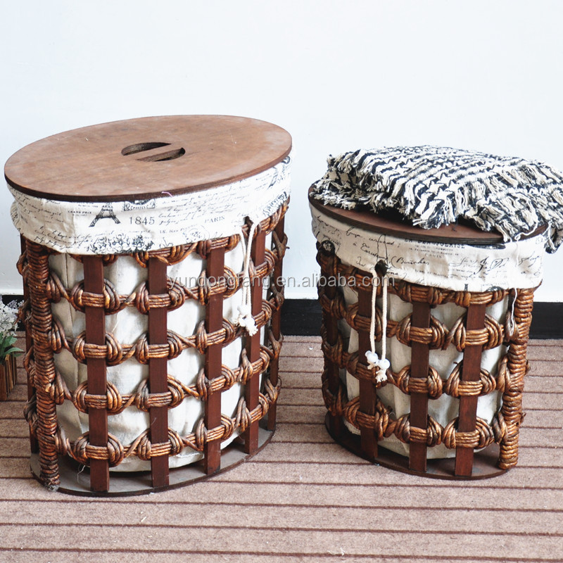 clothings storage basket with lines Vietnam rattan basket