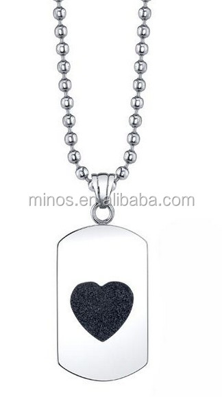Stainless Steel Diamond-cut Black Heart Dog Tag Necklace, Heart Charm Pendant Best Friends