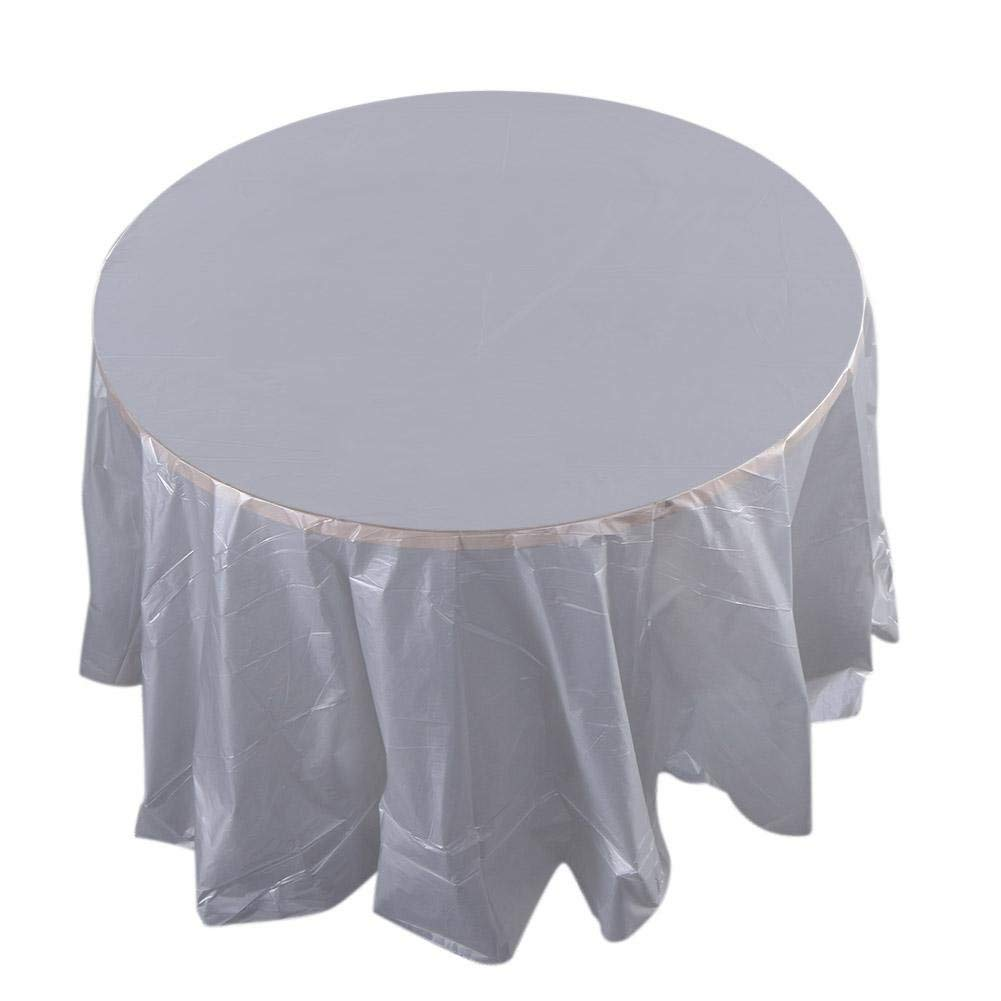 "Whitelotous 84"" Round Plastic Tablecloths Disposable Table Covers for Wedding Camping Catering Party/Grey"
