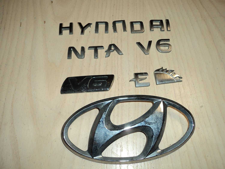 03-05 Hyundai Santa Fe V6 Rear Trunk Silver Emblem Badge Logo Nameplate Ornament Decal Set of