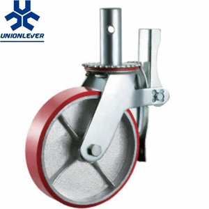 Hot sales Am.Scaffold Red Cast Iron Core PU caster with Double brake
