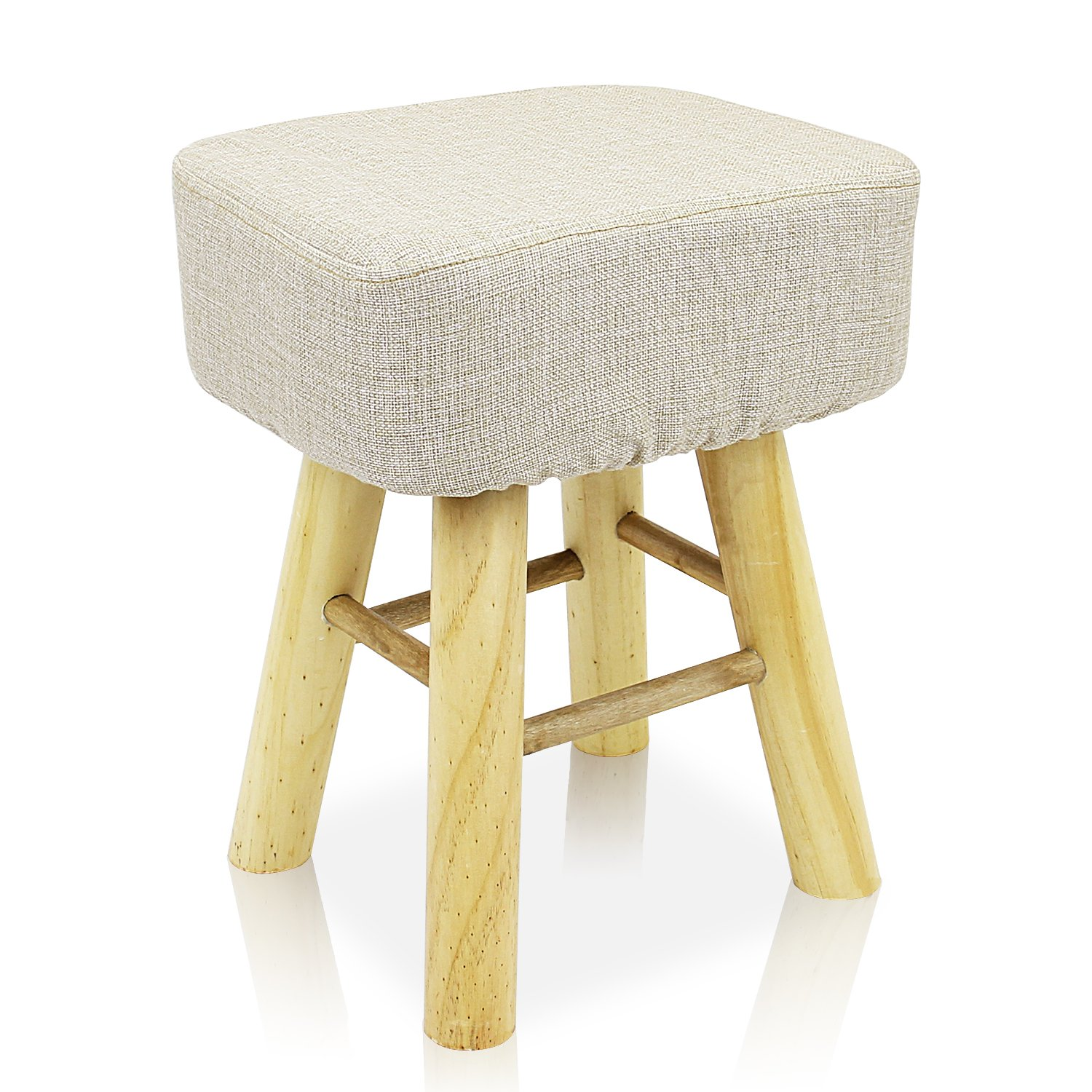 DL furniture - Square Ottoman Foot Stool, 4 long Leg Stands Square ShapeSquare Shape | Linen Fabric, Beige Cover