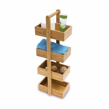 Bamboo Shelf With Handle 4 Storage Bathroom Caddy Organizer