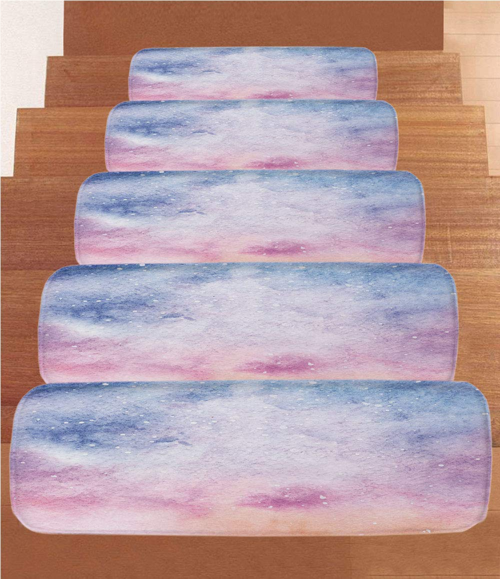 """iPrint Non-Slip Carpets Stair Treads,Navy and Blush,Abstract Watercolors Artistic Fantasy Soft Nebula Universe Inspired Decorative,Blue Pink Salmon,(Set of 5) 8.6""""x27.5"""""""