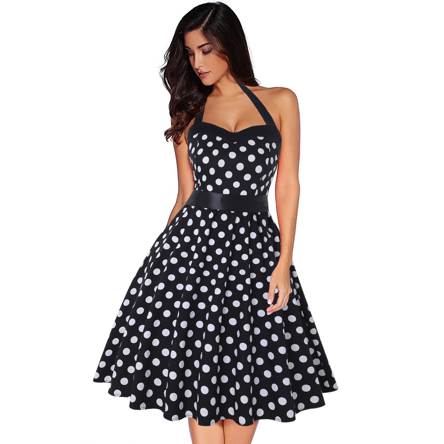 2019 Amazon Produkt Quelle Gelb Frauen 1950 s Rockabilly Audrey Kleid Polka Dot Vintage Frauen Kleid