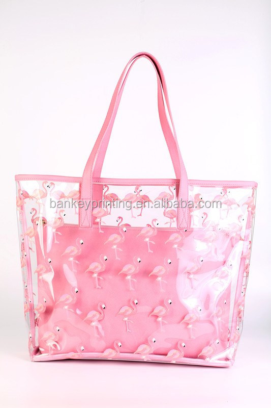 Pink Cute Deesign Plastic Beach Bag Shopping Bag Hand Bag