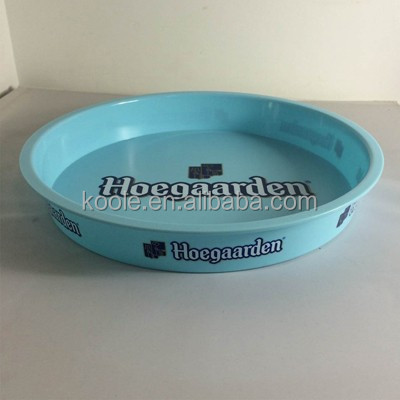 Advertising round shaped plastic serving tray