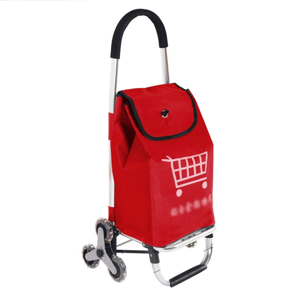 shopping cart Push-pull car Grocery shopping cart Home climbing stairs Small cart Trolley Old man shopping cart Portable trailer (Color : Red, Size : 422891cm)