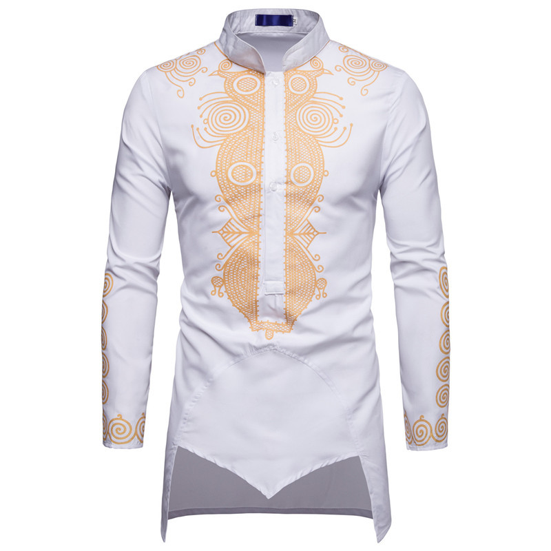Fashion Male Shirt Unique Design FLOWER Print Shirt Men Luxury Palace Baroque Royal Fancy Man LONG Shirts