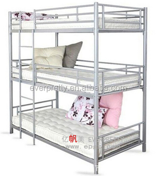 Everpretty School Furniture Supplier Cheap Triple Steel Metal Bunk