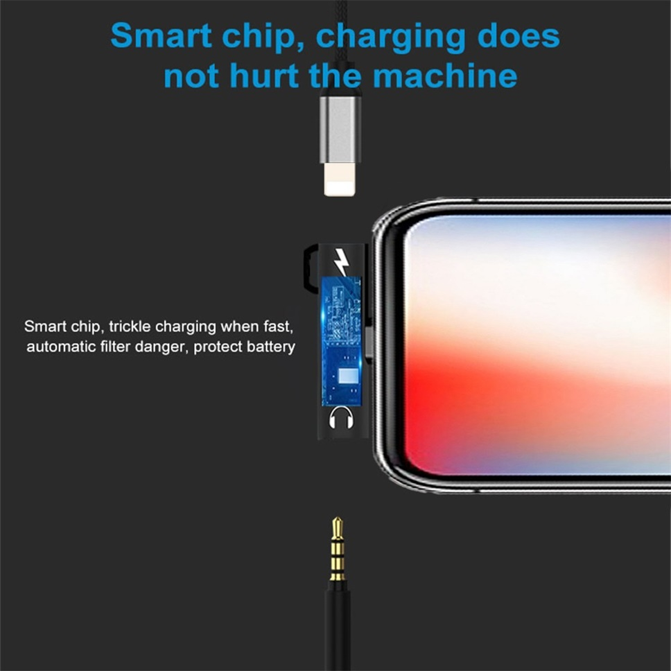 2 in 1 Lightning Charge and Listen to Music 3 5mm Headphone Adapter with  key ring for iphone X XR XS Max 7 8 Plus
