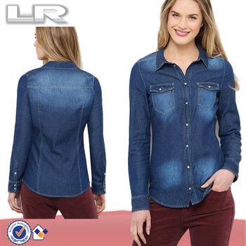 f4da4375c37f Barato Solapa Manga Larga Blanqueado Lavado De Algodón De Mezclilla Azul  Camisa Cabida Para Las Mujeres - Buy Mujeres Denim Camisas,Camisas De ...