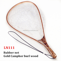 Gold camphor burl wood fly fishing landing net