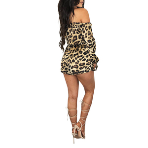 Sexy bandage off shoulder leopard fashion short womens club jumpsuit