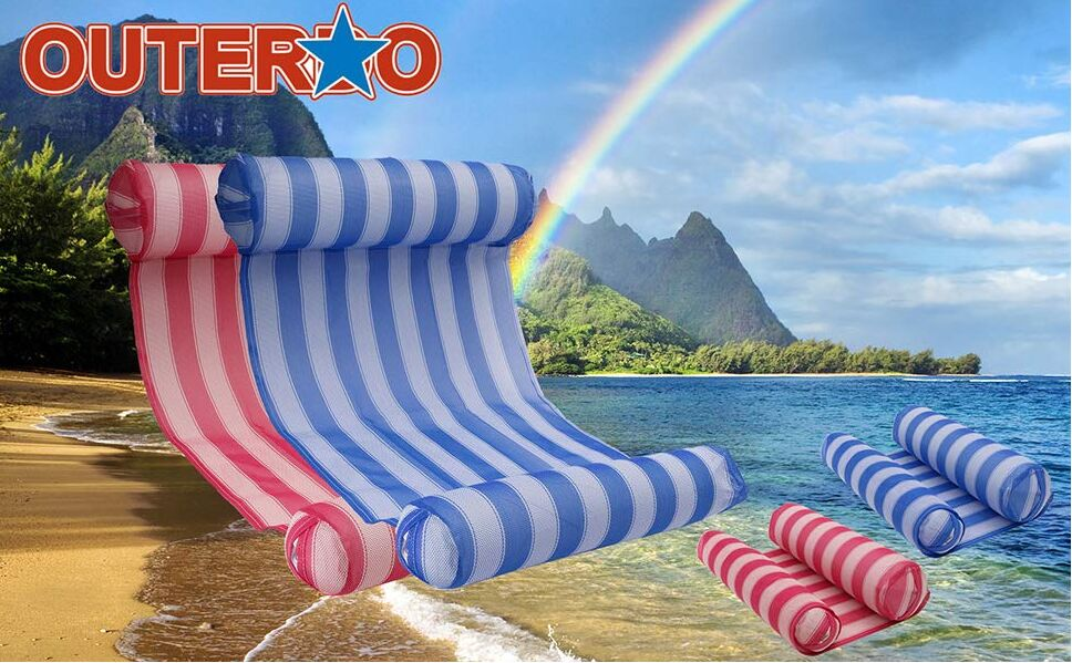 Outdoor Water Hammock with Air Pump - Pool Lounger Float Hammock Inflatable Rafts
