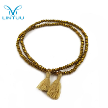 Wholesale jewelry seed gold bead luxury paracord stone bead bracelet for kids
