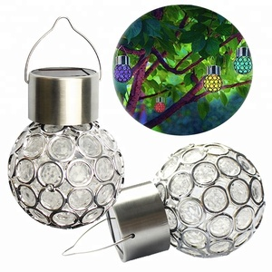 ViA Crystal Ball Hanging Light Color Changing Waterproof Solar Garden Lamp