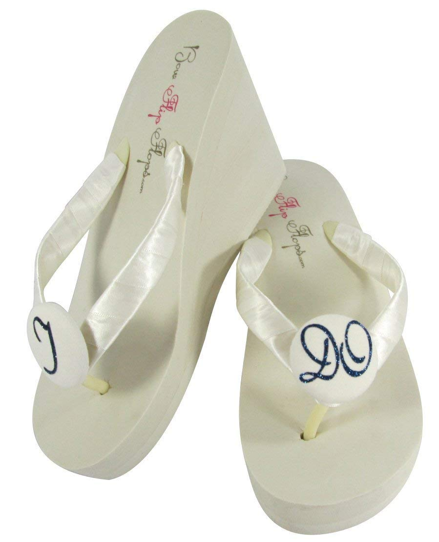Navy & Ivory High Wedge - White Flat or Low Heel - I DO glitter Wedding Flip Flops