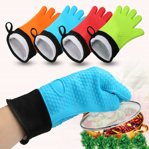 Wholesale Non-stick Silicone Rubber Cotton Oven Cooking Gloves OEM Accept Long Sleeve Kitchen Gloves Oven Mittens