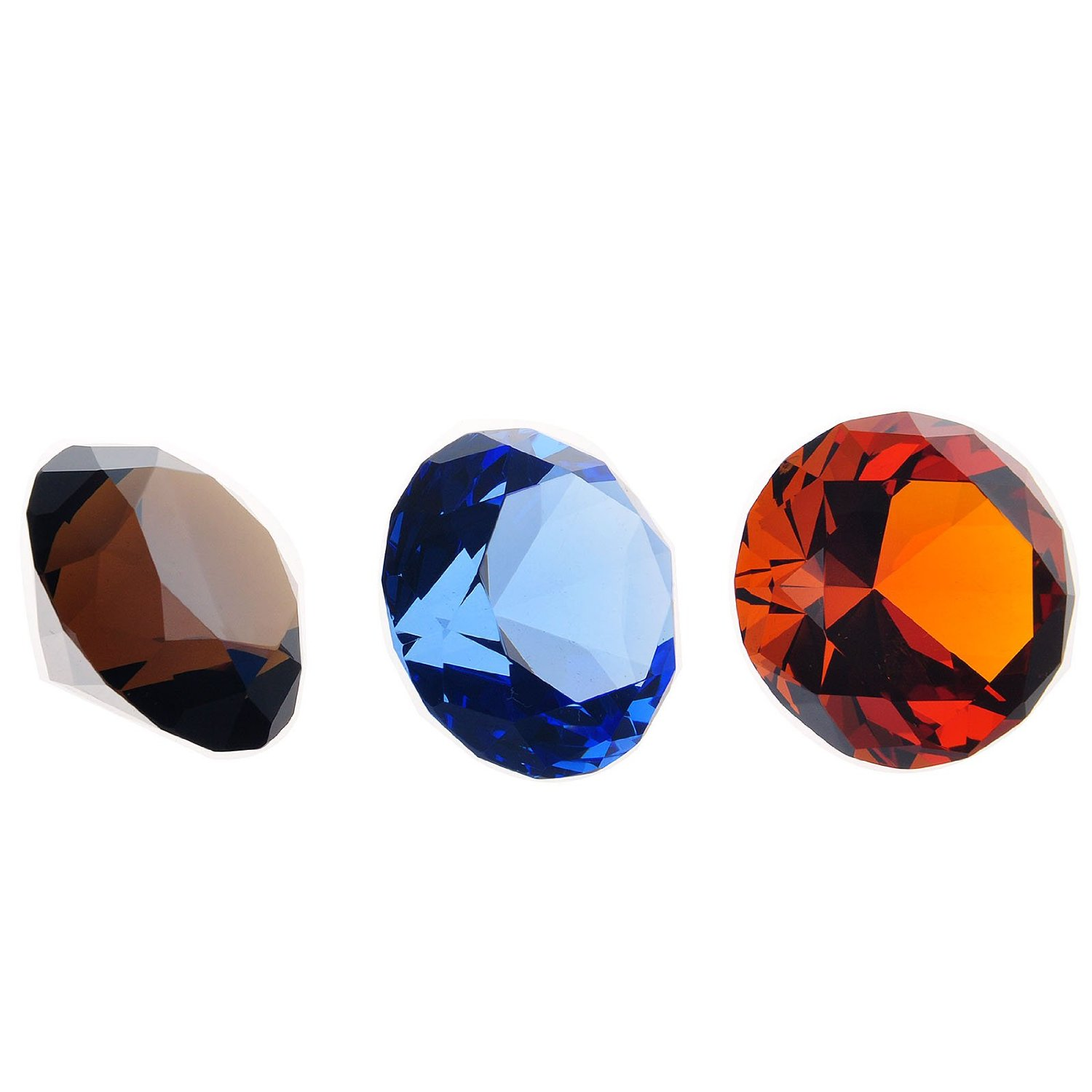 H&D 40mm 3pcs Diamond Glass Shaped Wedding Table Decorations Paperweight with Gift Box (black & blue & red)