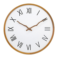 Modern simple Nordic style round shape wood frame silent art wall clock for home decor