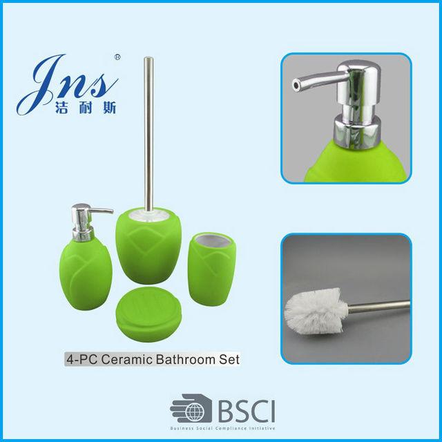 Rubber Coated Bathroom Set Lime Green