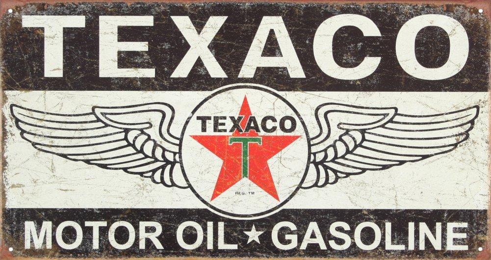 Texaco Winged Logo Distressed Retro Vintage Tin Sign 16 x 9in