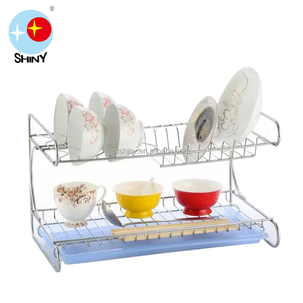 [SHINY] Stainless Steel E Dish Rack/ Two Layers Dish Rack/ Two-layer Rectangle Dish Rack