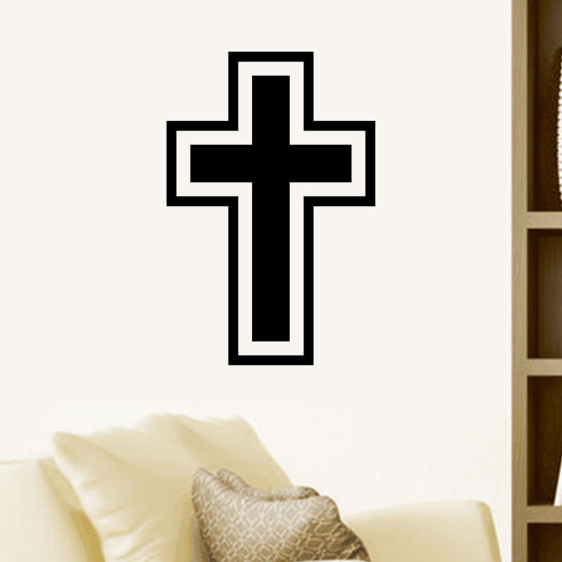 Hot Sale Believer Home Decor Christian Cross Wall Stickers Living Room Art Vinyl Transfer Hollow Out Simple Decal