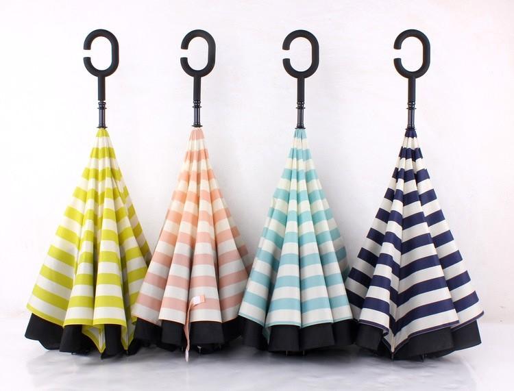 Navy Stripe Inverted Umbrellas C-shape J-shape Handle Waterproof Double  Layer Reverse Car Umbrella Paraguas Rain Umbrella - us613 2812340c178