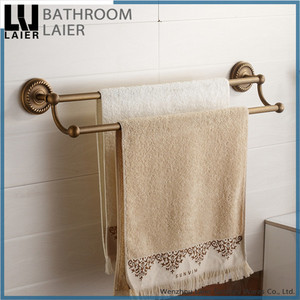 American Style Brass Antique Bronze Finishing Bathroom Accessories Wall Mounted Double Towel Bar