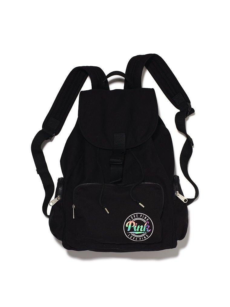 fb971e929af5 Get Quotations · Victoria s Secret Pink Backpack School Gym Travel Bag Tote  Black Palm