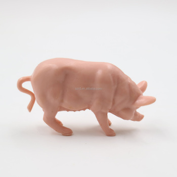 custom pink color plastic model pig figures for kids