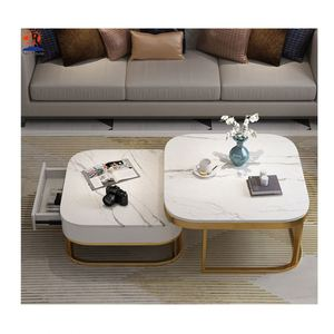 European style white marble golden stainless steel leg coffee table side table