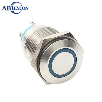 N1620 16mm Flat round head momentary pin terminal ring lamp waterproof push button switch