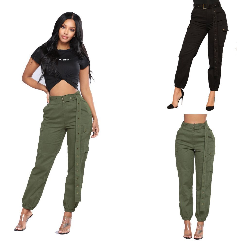 Pantalon Saten Verde Militar Mujer