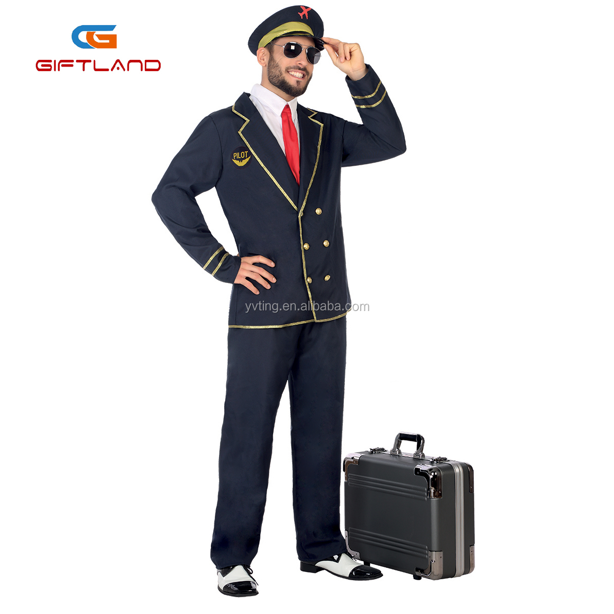 Men's Captain Deluxe Costume with Jacket Trousers Cap