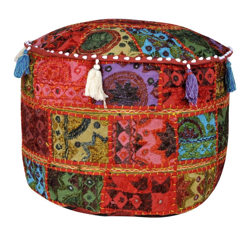 Jaipuri Handmade Decorative Mirror Embroidery Work Design Cotton Cushion Cover 17 X 17 X 12 Inches
