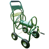 Metal Four Wheel Garden Watering Hose Reel Cart With Basket