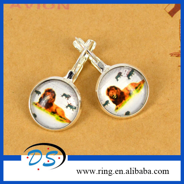 New Arrival Fashion Jewelry Silver Plated Animal Drop Earrings Lying Vivid Lion Stude Earrings For Women Round Glass Gemstone