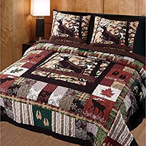 3 Piece Whitetail Deer Quilt Full Queen Set, Mountain Lodge Themed Bedding, Cabin Charm Patchwork, Leaves Hoofprints Wildlife Moose Deer Hunting Inspired, Western Country Pattern, Outdoors