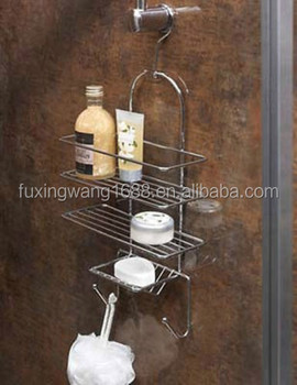 SHOWER CADDY SOAP STORAGE RACK ORGANISER HOLDER CHROME WITH HOOK