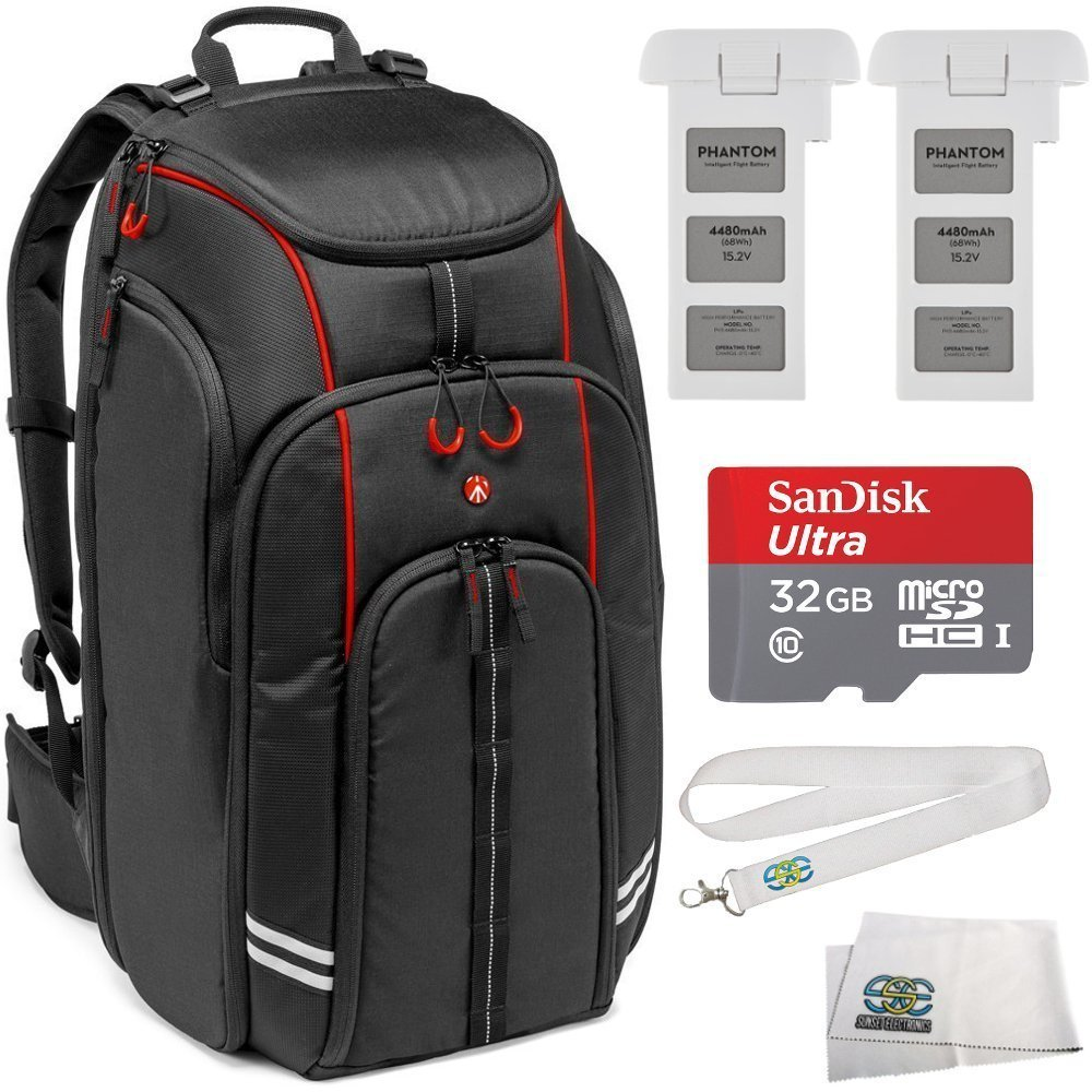 Essential Kit for DJI Phantom 3 4K, Standard, Professional, & Advanced. Includes Manfrotto MB BP-D1 DJI Professional Video Equipment Cases Drone Backpack + 2 DJI Intelligent Flight Batteries + MORE